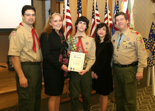 Anthony Perfetti, Nassau County Legislator Delia DeRiggi-Whitton, Eagle Scout Nicholas Mihaltses, Mom Tina Mihaltses and Dad/ Scout Master DeanMihaltses.