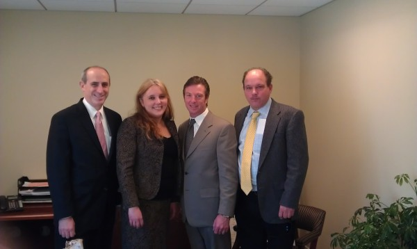 Legislator DeRiggi-Whitton hosted local mayors at her Mineola office. She is pictured with Glen Cove Mayor Ralph Suozzi, Sea Cliff Mayor Bruce Kennedy and Bayville Mayor Doug Watson.