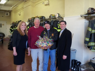 Nassau County Legislators Delia DeRiggi-Whitton (left) and Wayne Wink (right) dropped off food at the Haven Ave. firehouse in Port Washington to thank all those responders who put in so many hours last night fighting the blaze.