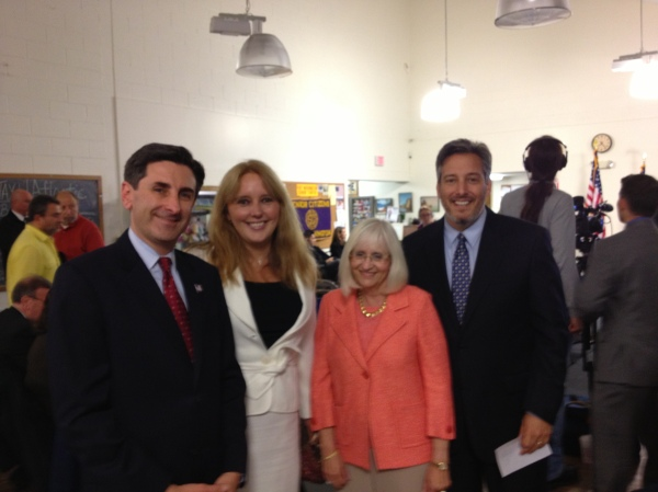 Legislator Delia DeRiggi-Whitton with Legislators Wayne Wink and Judi Bosworth and Town Supervisor Jon Kaiman. at the LIRR public meeting.