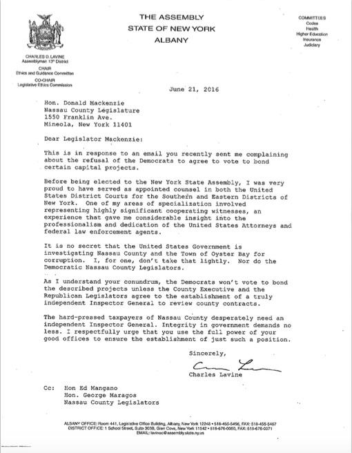 Charles Lavine Letter